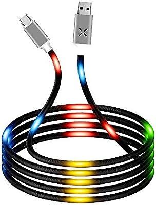 takestop® - Cable Micro USB con Sensor de Sonido, Luces LED RGB Luminosas, 120 mm de Largo, Cargador rápido USB para casa, Coche, para Smartphone Android: Amazon.es: Electrónica