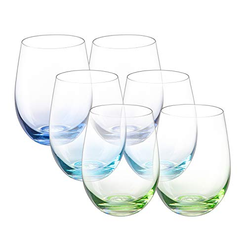 Vastto 18 Ounce Multicolor Stemless Wine Glass,Bell Shape,for Water,Beverage,Wine,Beer and Home Bar Collection,Set of 6…