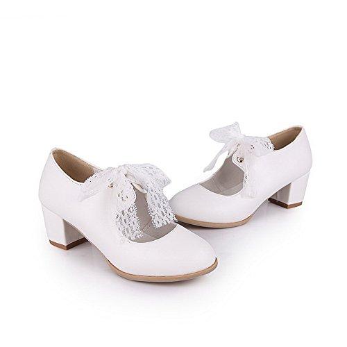 supérieur rubans pour Blanc cuir pumps balamasa en shoes Round Toe xCIdRwx5q