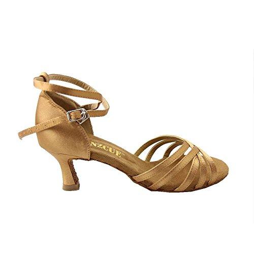 Danzcue Women Straps Satin Salsa Ballroom Latin Dance Shoes Dark Tan zrvda8tMi