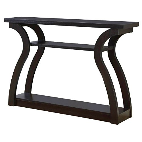 Curved Entryway Table Wood Console Sofa Side Table Foyer Accent Entry Console Furniture Decor Unique Contemporary Design 3 Storage Shelves & eBook by BADA shop