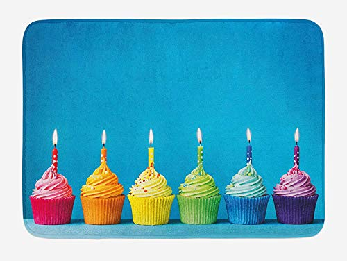 (Birthday Bath Mat, Cupcakes in Rainbow Colors with Candles Fun Homemade Party Food Sweet Delicious, Plush Bathroom Decor Mat with Non Slip Backing, 23.6 W X 15.7 W Inches, Multicolor)