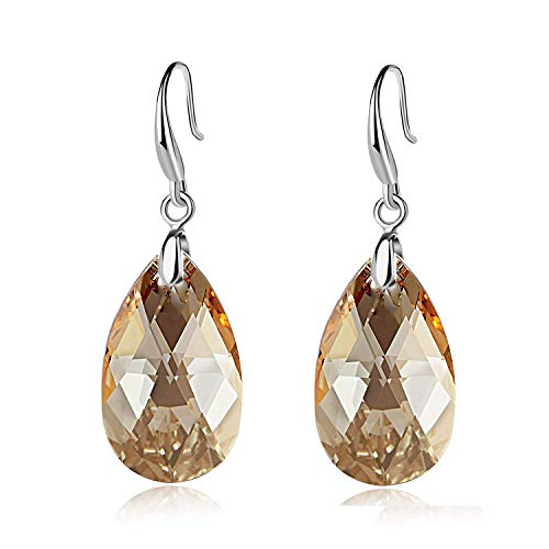 EVEVIC Swarovski Crystal Teardrop Dangle Hook Earrings for Women Girls 14K Gold Plated Hypoallergenic Jewelry (Light Topaz) Crystal Teardrop Dangle Earrings