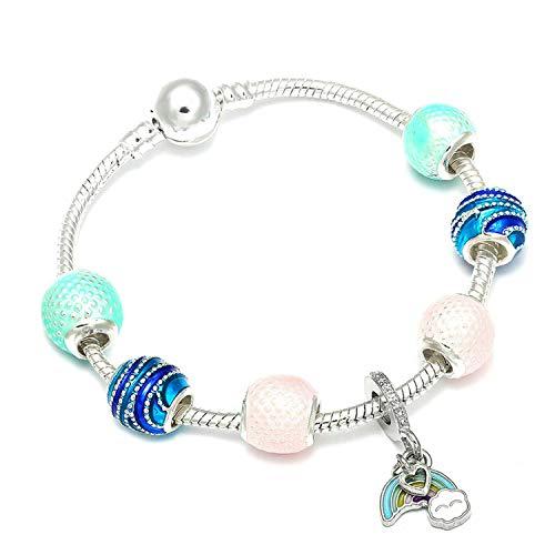 Ink White Charm Bracelets & Bangles Minnie Pink Bow-Knot Pendant Bracelet DIY Handmade,Blue Zinc Plated,18Cm