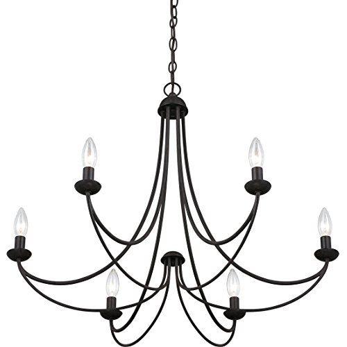 (Torbrook Farmhouse Candle Chandelier, Black Hanging Dining Room Lighting, 6-Light 360 Watts)
