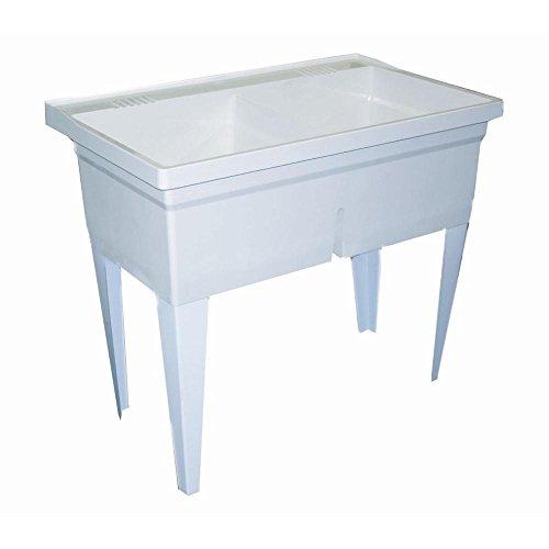 FIAT FLTD11 Molded-Stone Double-Bowl Laundry Tub, White