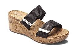 Vionic Women S Atlantic Pepper Adjustable Platform Sandal Ladies Wedge With Concealed Orthotic Arch Support Black Snake 9 M Us
