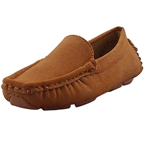 DADAWEN Girl's Boy's Suede Slip-on Loafers Oxford Shoes Brow