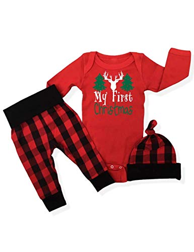 3PC My First Christmas Outfits Toddler Baby Girl Boy Clothes Print Romper Plaid Pants with Hat Costumes Set(0-3m) Red