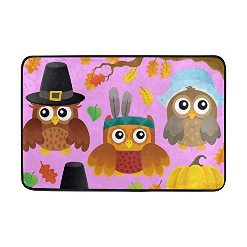 YANG LI Thanksgiving Owls Pink Door Mat Carpets Indoor Outdoor Area Rugs Office Door Mat Non-Slip for Bedroom Bathroom Living Room Kitchen Home Decorative 23.6x15.7 inch -