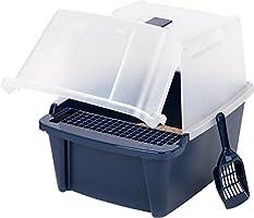 IRIS Split-Lid Hooded Litter Box w/Scoop/Paw Cleaning Grid, Large, Navy