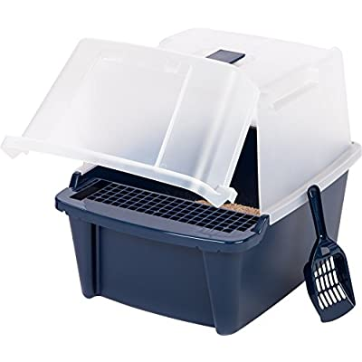 Cat Box IRIS Large Split-Hood Litter Box with Scoop and Grate, Navy blue [tag]