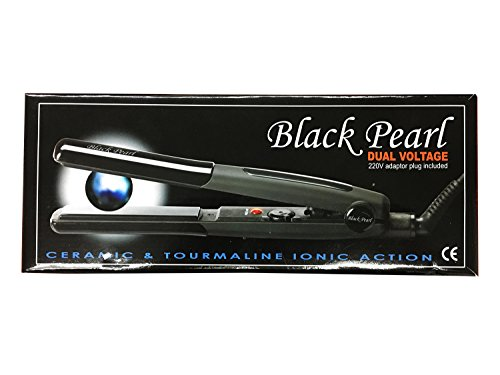iBeauty Black Pearl Ceramic and Tourmaline Ionic Action Straighten Curl Flip Styling Dual Voltage Flattening Iron Made in Korea (Black Pearl) - Black Pearl Iron