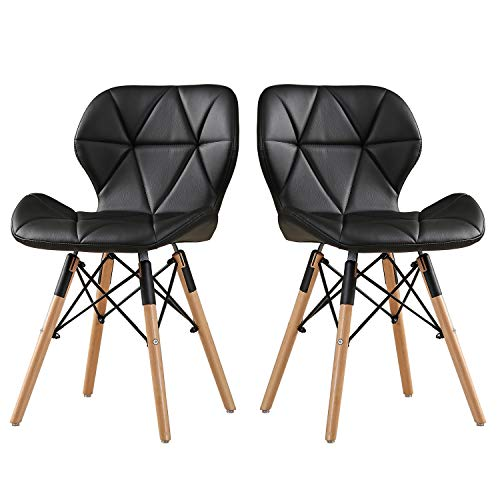 Bedroom Chair Leather (DlandHome Modern Bar Chair PU Leather Set of 2 with Wood Legs for Kitchen, Dining, Bedroom, Living Room, Lounge, Black 1986-005-BK)