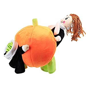 LUCKSTAR Carrying Pumpkin Costume - Pet Clothes Funny Small Dogs Costume Halloween Carrying Pumpkin Costume Fancy Puppy Apparel Jacket Soft Plush Puppy Jumpsuit (M)