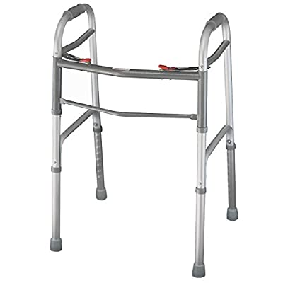 Folding Walker By Vive - Elderly Walker Is Adjustable & Portable - Perfect Walking Aid That Easily Opens and Closes With Push Button - Walker Supports Up To 250 lbs. - Lifetime Guarantee