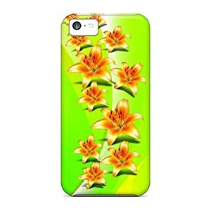 Iphone 5c Case Cover - Slim Fit Tpu Protector Shock Absorbent Case (vector Flowers)