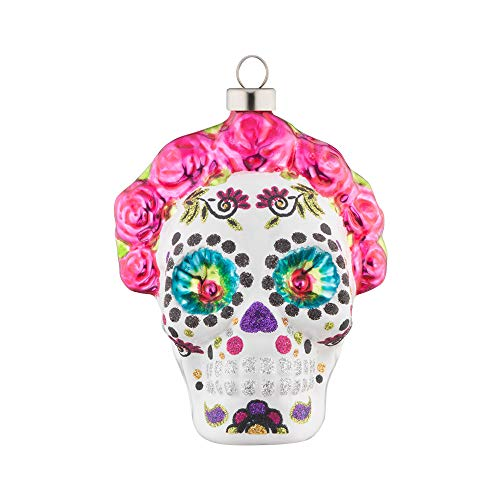 kat + annie Dia de Los Muertos Rose Skull Ornament, Pink, White]()