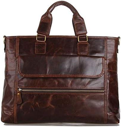 メンズブリーフケース 紳士用バッグレトロビジネスバッグメンズレザーブリーフケース大容量投げられショルダーバッグラップトップバッグ 便利で持ち運びが簡単 (Color : Coffee, Size : 40.5x7.5x30.5cm)