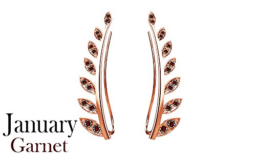 (Simulated Garnet Ear Crawler Cuff Earrings 14k Rose Gold Over Sterling Silver Climber Studs Olive Leaf )