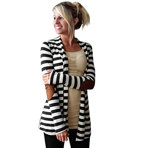 Coat Belted Velvet - UONQD 2019d Women Outwear Casual Long Sleeve Striped Cardigans Patchwork Coat (Medium,Black)