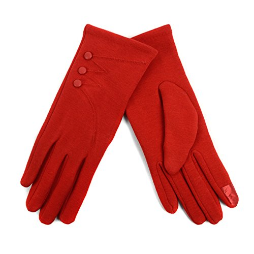 Women's L/XL Stylish Touch Screen Gloves with Button Accent & Fleece Lining (Bow Accent Gloves)