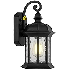 Garden and Outdoor Dusk to Dawn Outdoor Wall Lighting, Outdoor Wall Lantern with Water Ripple Glass Waterproof Wall Sconce for Porch, Front… outdoor lighting