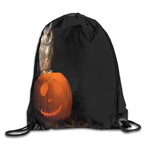Drawstring Bag Owls Birds Pumpkin Halloween Womens Gym Backpack Personalized Mens Travel Canvas Bags For Senior ()