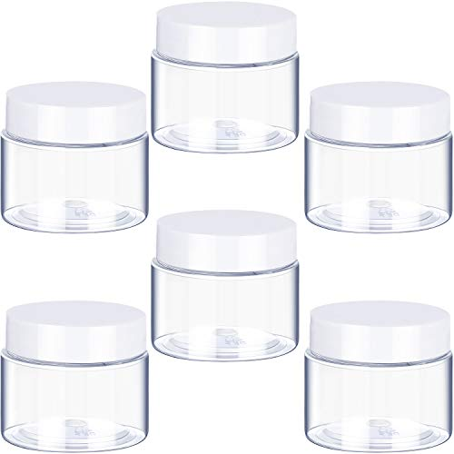 6 Pack Plastic Pot Jars Round Clear Leak Proof Plastic Cosmetic Container Jars with Lid for Travel Storage Make Up, Eye Shadow, Nails, Paint, Jewelry (1 oz, White)