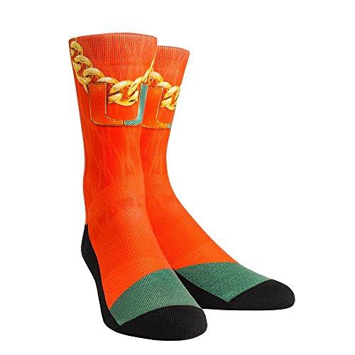 Rock 'Em Elite MIAMI HURRICANES - Turnover Chain Orange Licensed Crew Socks (S/M (SZ 6-8.5)) -