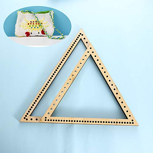 (Dalab 2pcs Hand-Knitted Machine DIY Handmade Knitting Wall Hangings Triangle Wooden Weaving Loom DIY Craft Home)