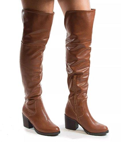 Bamboo Mujeres Victoria-01 Knee Bota Bota Su Chestnut