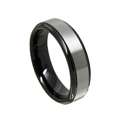 6mm step and top silver brushed black Tungsten Carbide Ring Wedding Jewelry Finger Ring for Women FY-625 (625 Silver Metal)