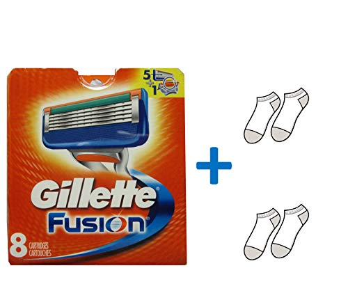 Gillette Fusion Razor Refill Cartridges -Made in USA - Free Gift Included (8 Count)
