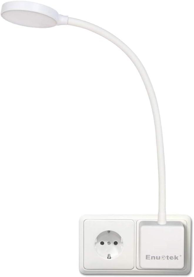 Lampara de Lectura Pared de LED Flexible Regulable Blanco con Enchufe y Interruptor Tactil 4W Brillo Máximo 350Lm Luz Fria 5000K Lot de 1 de Enuotek