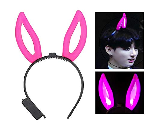 Light Up LED Funny Unique Bunny Ears headbands, Kpop BTS Costume Hair Accessories, for Club Concert Halloween Christmas Party, Rabbit Hairband for Kids Girls Adults (Pink)]()