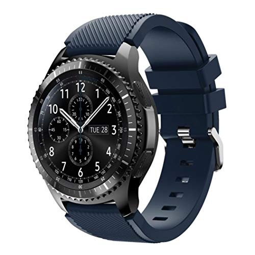 Price comparison product image For Samsung Gear S3 Frontier New Fashion Sports Silicone Bracelet Strap Band, Outsta Watch Band Wrist Strap Watch Accessories Bracelet Best Gift 22mm (Dark Blue)