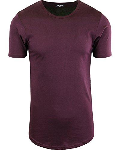 Wine Elong Round Hemline Crew Neck Drop Tail Shirt Shirt M
