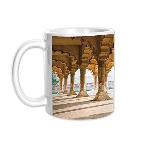 - Pillar Stylish White Printed Mug,Historical Theme Gallery of Pillars at Agra Fort Ethnic Digital Image Decorative for Living Room Bedroom,3.1