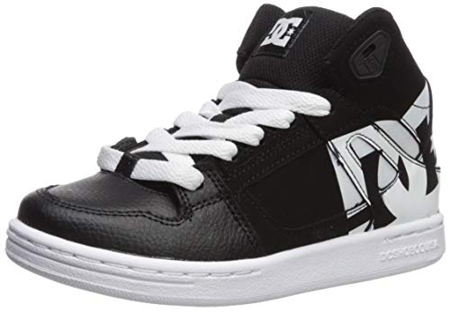 DC Boys' Pure HIGH-TOP SP Skate Shoe, Black/White, 4.5 M US Big Kid