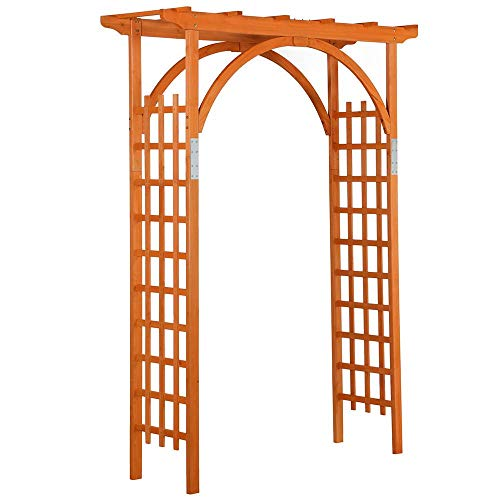Yaheetech 7FT Wood Arbor Arch Trellis Wooden Garden Arbor Wedding Climbing Planting Garden Patio Greenhouse Bridal Party Decoration, Natural Wood