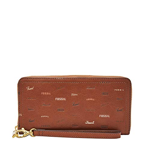 Fossil Women's Logan Brown Leather Zip Around Clutch Wallet