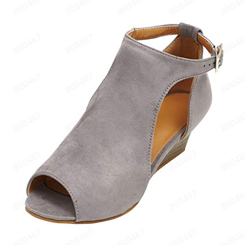 KINGOLDON Sandals for Women Summer Fish Mouth Wedge Sandals Ankle Buckle peep Toe high Heels Sandals Strappy Sandals Beige