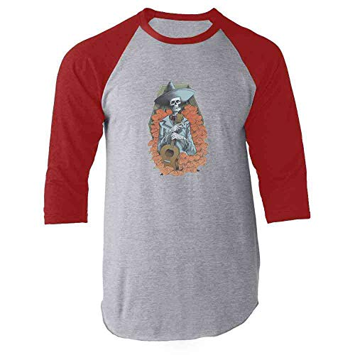 Mariachi Skeleton Halloween Costume Horror Red L Raglan Baseball Tee -