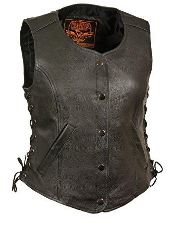 Black Lthr Lace - Milwaukee Women Premium Leather Side Lace Vest with 2 Front Pocket ( Black, XX-Large)