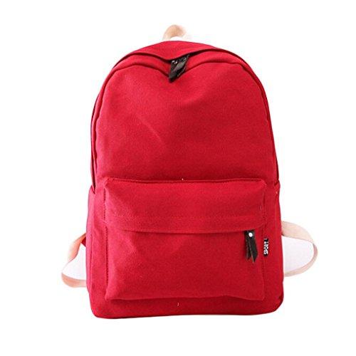 Malloom Mujeres bolso de escuela chica Mochila viaje mochila bolso de la lona (verde) rojo