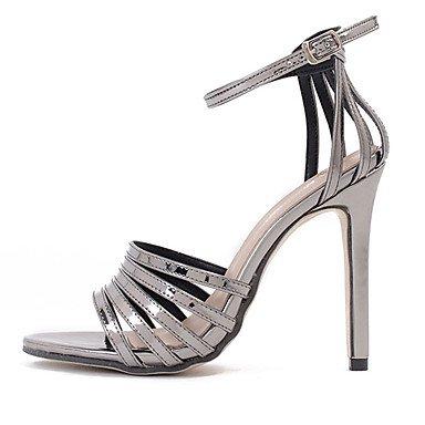 efe7686559c LvYuan Mujer Sandalias Cuero Patentado Verano Hebilla Tacón Stiletto Negro  Gris oscuro 10 - 12 cms ...