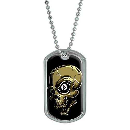 Eight Ball Skull - Billiards Pool Military Dog Tag Keychain