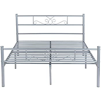 SimLife Full Size Bed Frame Headboard Footboard Mattress Steel Double Beds Box Spring No Assembly Metal