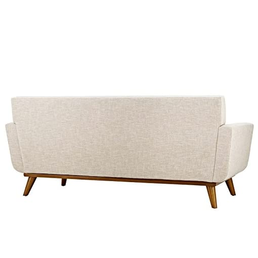 Farmhouse Living Room Furniture Modway Engage Mid-Century Modern Upholstered Fabric Loveseat in Beige farmhouse sofas and couches